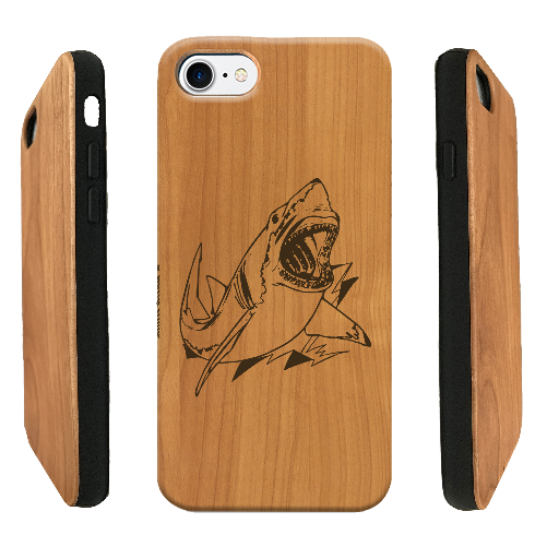 Funda iPhone tiburón, case madera